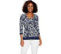 Susan Graver Printed Liquid Knit 3/4 Sleeve Top - A288485