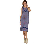 C. Wonder Regular Printed Knit Midi Dress with Lace Trim - A289085