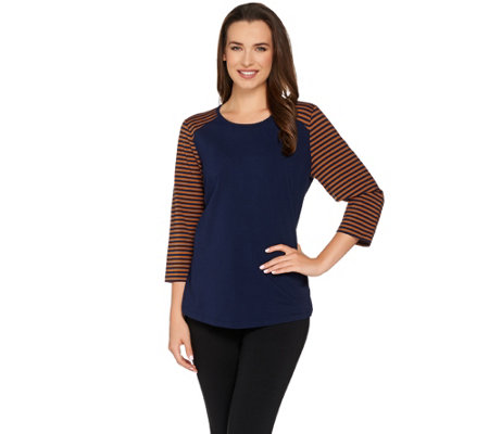 """As Is"" Denim & Co. ACtive Round 3/4 Sleeve Top w/ Stripes"