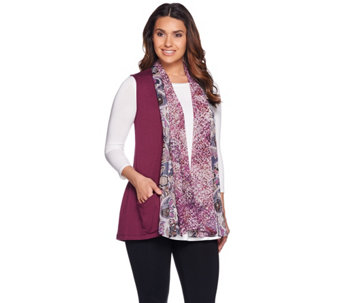 """As Is"" LOGO by Lori Goldstein Knit Vest with Printed Trim - A289485"