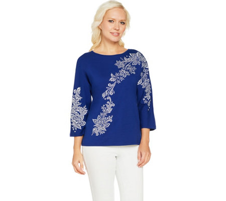 Bob Mackie's Floral Embroidered Dolman Sleeve Knit Top