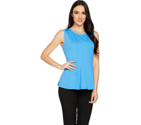 H by Halston VIP Ponte Sleeveless Peplum Top with Seam Details
