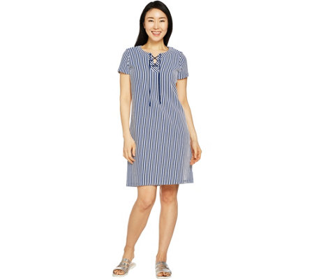 C. Wonder Short Sleeve Striped Lace-Up Knit Dress