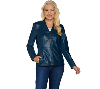 """As Is"" Denim & Co. Zip Front Faux Leather and Ponte Knit Jacket - A291185"