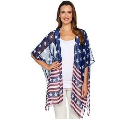 Joan Rivers Stars & Stripes Convertible Kimono/Scarf