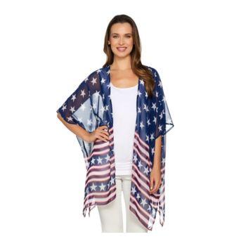 Joan Rivers Stars & Stripes Convertible Kimono/Scarf