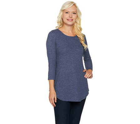 """As Is"" LOGO Layers by Lori Goldstein Waffle Knit Top w/ 3/4 Sleeves"
