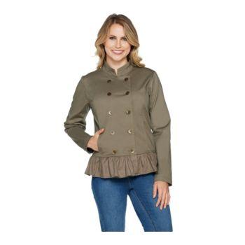 Studio by Denim & Co. Double Breasted Ruffle Hem Long Sleeve Jacket