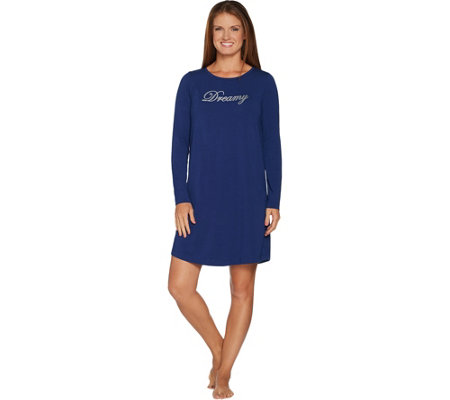AnyBody Loungewear Cozy Knit Message T-Shirt Sleep Dress