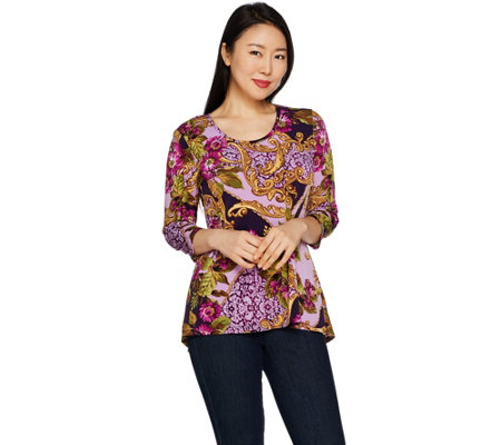 Susan Graver Printed Liquid Knit Top with Peplum Back