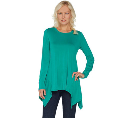 LOGO by Lori Goldstein Sanded Modal Top with Hem Detail