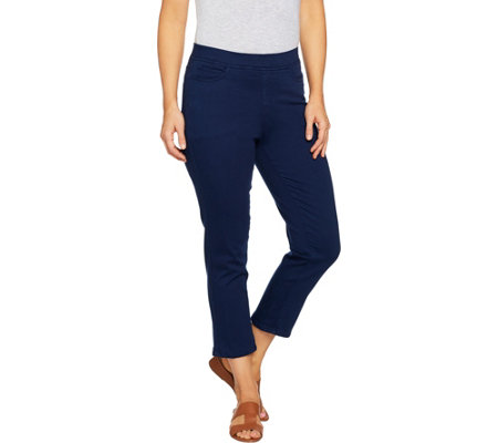 """As Is"" Denim & Co. Pull-On 5-Pocket Denim Twill Capri Pants"