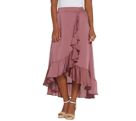 Lisa Rinna Collection Pull-On Faux Wrap Skirt with Ruffles