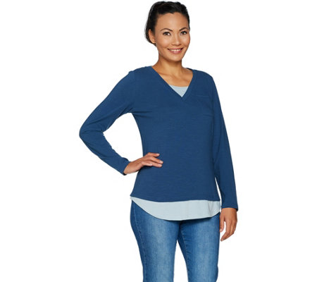 """As Is"" Isaac Mizrahi Live! TRUE DENIM Long Sleeve V-neck Layered Top"