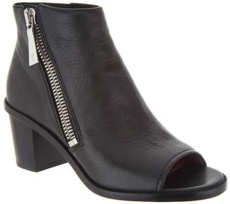 Frye Leather Peep Toe Zip Ankle Boots - Brielle