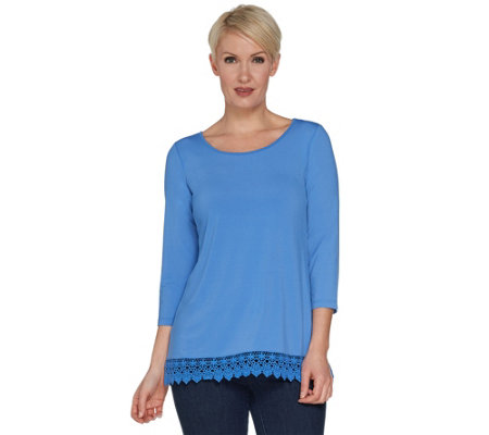 """As Is"" Joan Rivers 3/4 Sleeve Knit Top with Crochet Trim"