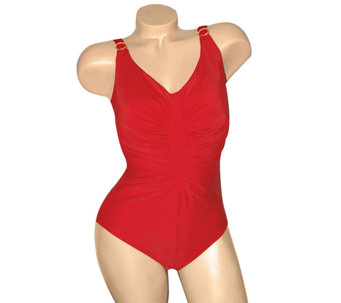 Carol Wior Slimsuit Shirred Diamond Front Swimsuit - A334185