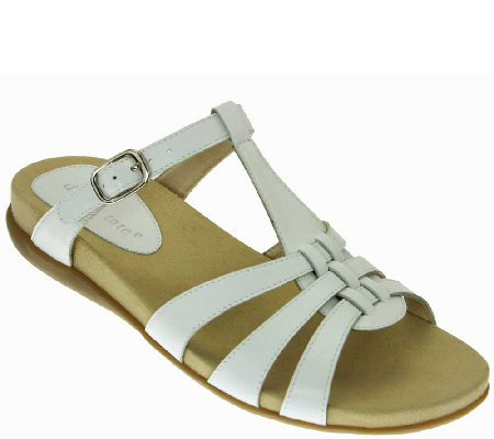 David Tate Leather T-Strap Sandals - Squeeze