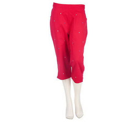 Quacker Factory Polka Dot Embroidered Capri Pants