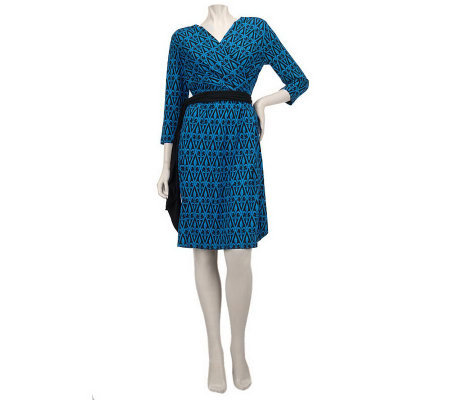Bob Mackie's Fleur De Lis Print Dress w/Self Belt & Ruching Detail