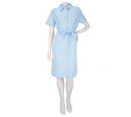 Denim & Co. PlaidSeersucker Short Sleeve Shirt Dress with Tie