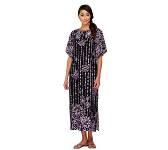 Bob Mackie's Boatneck Placement Print Maxi Dress w/Split Sleeves - A224586