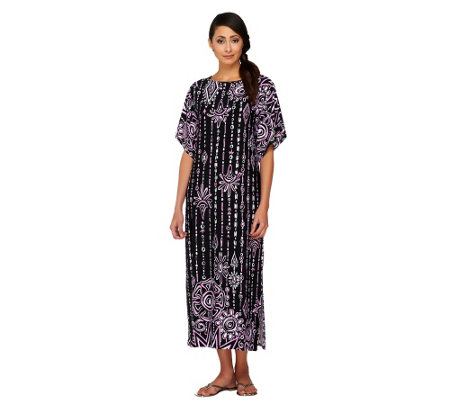 Bob Mackie's Boatneck Placement Print Maxi Dress w/Split Sleeves