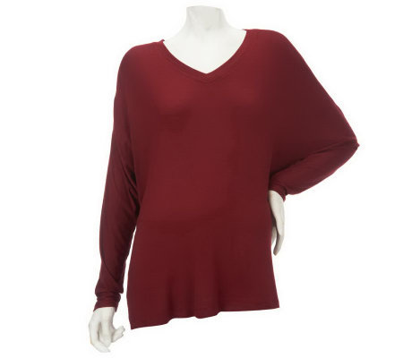 Nicole Richie Collection Dolman Sleeve Knit Top with Sheer Insets