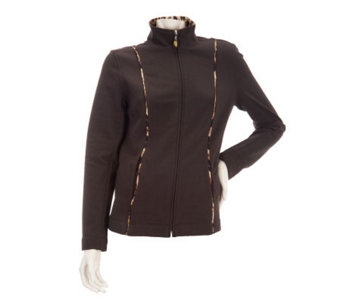Susan Graver Weekend Brushed French Terry Jacket with Piping Detail - A229886