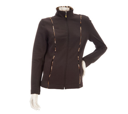 Susan Graver Weekend Brushed French Terry Jacket with Piping Detail