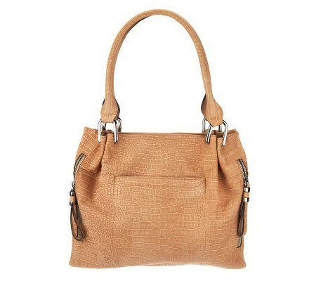 B. Makowsky Sun Washed Croco Embossed Leather Tote