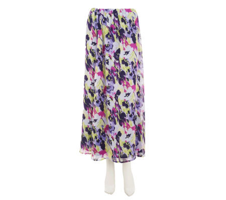 Liz Claiborne New York Floral Printed Crinkle Chiffon Skirt