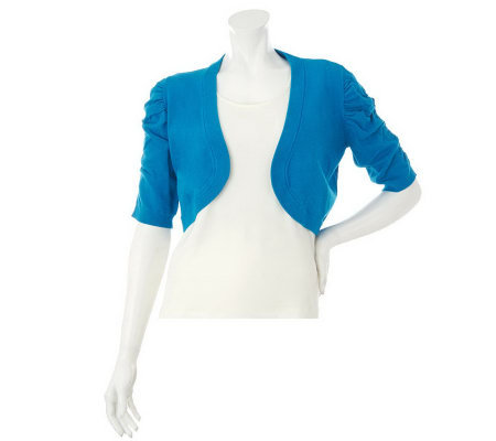 Susan Graver Solid Rayon Nylon Curved Front Shrug