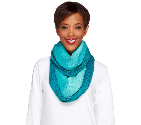 Isaac Mizrahi Live! Ombre Sweater Knit Scarf with Cable Detail