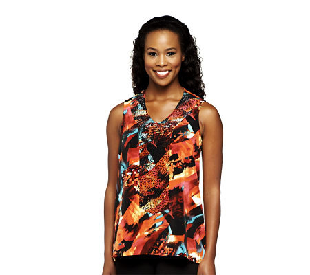 Kelly by Clinton Kelly Mixed Print Woven Top w/ Rhinestones