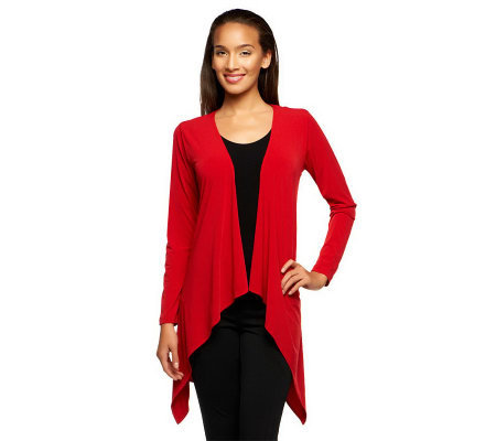 Joan Rivers Luxe Knit Long Sleeve Cardigan with Lace Detail