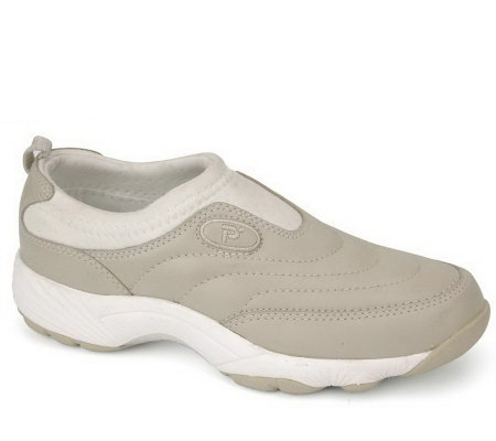 Propet Wash & Wear Slip-on Leather Walking Sneakers