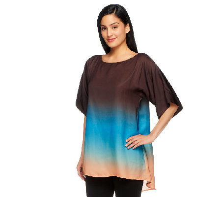 G.I.L.I. Elbow Sleeve Uneven Hem Dip Dye Blouse