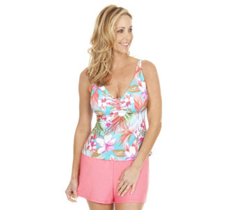 Liz Claiborne New York Tankini Swimsuit with Shorts - A253386