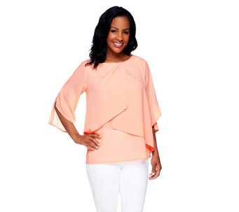 Bob Mackie's Chiffon Layered 3/4 Sleeve Top - A254486