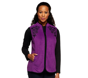 """As Is"" Susan Graver Fleece Vest with Front Zipper and Embellishments - A256386"