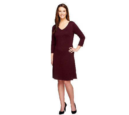 Isaac Mizrahi Live! 3/4 Sleeve V-Neck Sweater Dress
