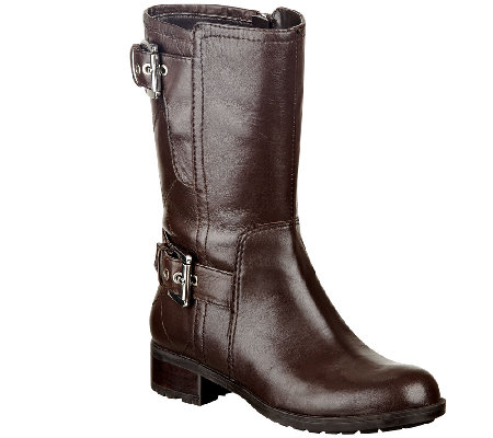 Marc Fisher Quilted Leather Boots w/ Buckle Accents - Jenna
