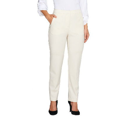 Susan Graver Chelsea Stretch Zip Front Pants w/ Pockets - Petite