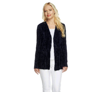 """As Is"" Susan Graver Pleated Knit Long Sleeve Open Front Cardigan - A260986"