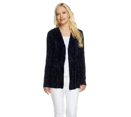 """As Is"" Susan Graver Pleated Knit Long Sleeve Open Front Cardigan"