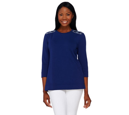 """As Is"" Susan Graver French Terry Embellished Sweatshirt"