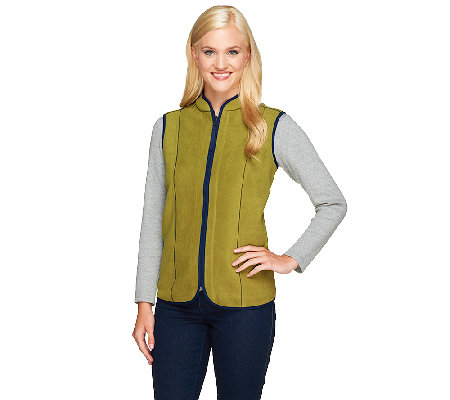 """As Is"" Susan Graver Reversible Zip Front Polar Fleece Vest"