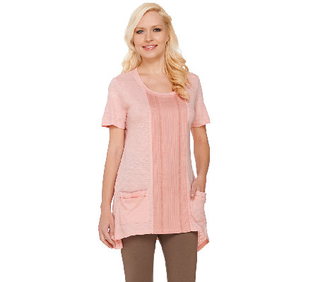 LOGO by Lori Goldstein Slub Knit Top with Pleated Front Detail