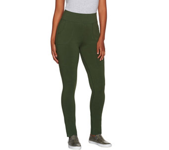 LOGO by Lori Goldstein Pull-On Knit Pants with Front Pockets - A265586